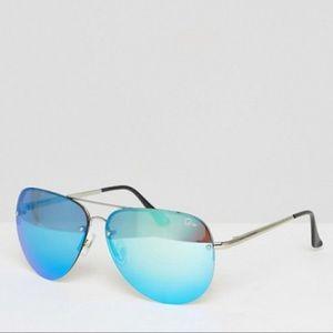 Quay Muse Oversized Blue Aviator Sunglasses